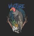 vulture and skull dark background halloween vector image vector image