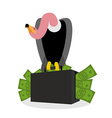 Vulture sitting on suitcase of money Griffon and vector image vector image