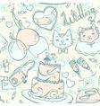 Wedding cartoon pastel seamless pattern vector image