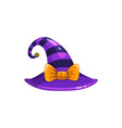 witch hat with cute bow and violet stripes icon vector image vector image