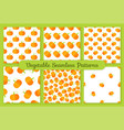 Yellow pumpkin flat vegetable seamless pattern set