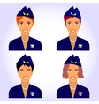 with female stewardess characters set vector image