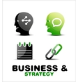 Modern business and strategy icon set vector image