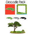 a pack of crocodile character vector image vector image