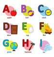 alphabet english from A to I vector image vector image