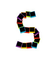 Alphabet S with colorful polaroids vector image