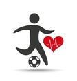 athlete silhouette football heart beat graphic vector image vector image