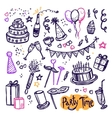 Birthday party doodle pictograms collection vector image vector image