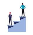 businessmen team top stairs vector image