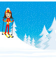 cheerful skier in forest vector image