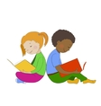 Children reading books Boy and girl learning vector image vector image