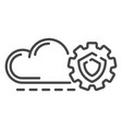 cloud gear secured icon outline style vector image