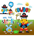 cowboy cartoon set vector image