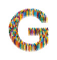 crowd people in form capital letter g flat vector image vector image