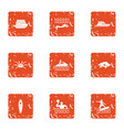 cruise sport icons set grunge style vector image vector image