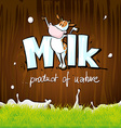 design with milk cow wood and grass vector image vector image