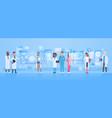 diverse doctors group use virtual computer screen vector image vector image