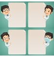 Doctors Cartoon Characters Looking at Blank Poster vector image vector image