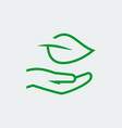 eco care icon in thin line style - hand with leaf vector image