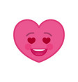 falling in love heart shaped funny emoticon icon vector image