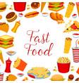 fast food restaurant meal frame poster design vector image vector image