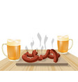festival of beer light beer in mugs fried dishes vector image vector image