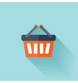 Flat shopping bag icon vector image