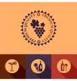 flat wine menu icons set vector image