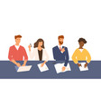 friendly men and women sitting at table holding vector image vector image