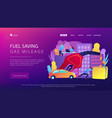 fuel saving and gas mileage landing page vector image
