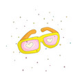 fun cartoon yellow glasses with pink hearts vector image vector image
