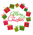 gifts boxes round frame merry christmas text vector image