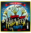Halloween party horror night poster design vector image