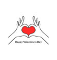 hand gesture heart like happy valentines day vector image