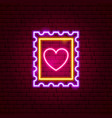 heart post stamp neon sign vector image vector image