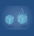 ice cubes and cubes with bubbles on blue vector image