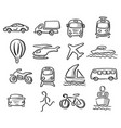 icons of transportation set with gray shadow vector image vector image