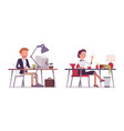 lady and gentleman working at the desk vector image vector image