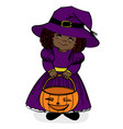 little girl in witch costume vector image vector image