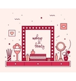 Makeup table vanity linear mirror dressing vector image