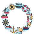 marine spirit round concept with ship icons in vector image vector image