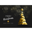 Merry christmas happy new year golden triangle vector image vector image