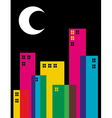 Multicolored transparency night city vector image vector image