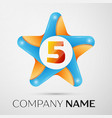 number five logo symbol in the colorful star on vector image vector image
