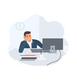 office worker dressed in smart suit sitting vector image vector image