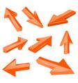 orange straight 3d arrows vector image vector image