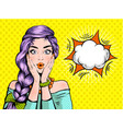 pop art surprised woman beautiful face with open vector image vector image