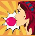 pop art woman with gum vector image vector image