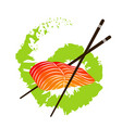 salmon fillet and chopsticks vector image vector image