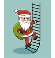 santa claus climbing stairs with gift bag vector image